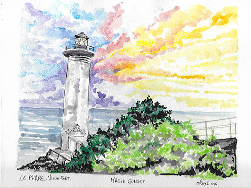LE PHARE VIEUX-FORT TAINOS GUADELOUPE ARTWORK OLIVIE