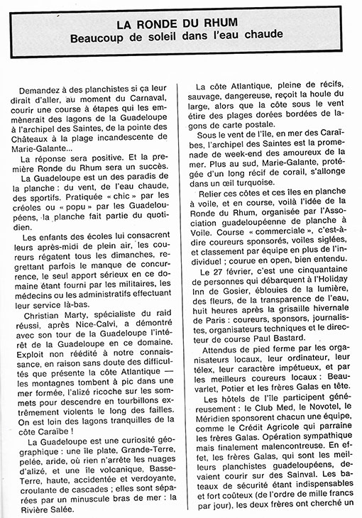 ronde du rhum 1981 windsurf tainos guadeloupe